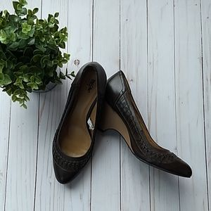 Brown wedge style shoes
